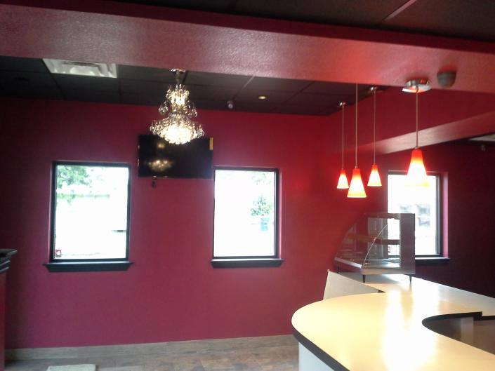 [Image: Not only did we install all of the lighting, we also designed all of the interior including colors, fixtures, counter and more!]